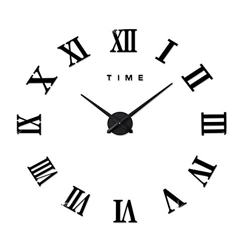 Black Sunburst Roman Dial (M.Sparkling DIY Wall Clock Roman Numeral Scales Home Decor (BLACK))
