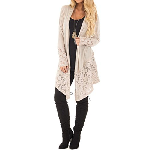 Dcontracte unie Couleur Manche Manteau Patchwork blanc Mode Toamen de Cardigan cardigan de Kaki dentelle en XL Femmes longue Dentelle wxWOCXIqX8