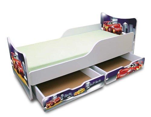 BEST FOR KIDS KINDERBETT 90x200 MIT ZWEI SCHUBLADEN CARS III