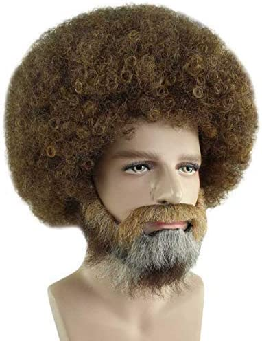Pet Adult Paint Brush and Palette Combo 80s Painter Curly Clown Afro Wig with Full Beard and Mustache Set Kids