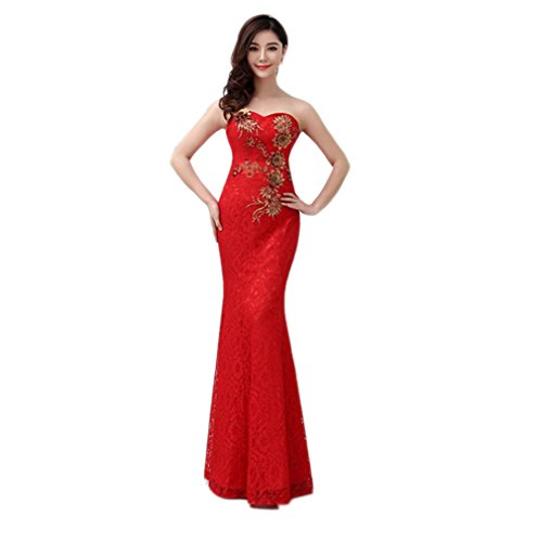 VogueZone009 Womens Sweetheart Sleeveless Lace Formal Dresses with Embroidery, Red, 16 by VogueZone009