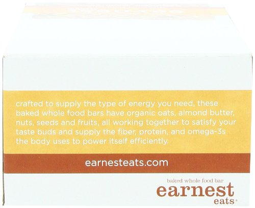 Earnest Eats Baked Whole Food Bar 5 HEALTHY SNACK:  These delicious bars are 100% natural wheat-free snacks packed with nutrition including, 6g of protein and 190 mg of omega-3s. ENERGY BAR PACKED WITH SUPERFOOD INGREDIENTS:   The vegan bar is made with whole nuts, fruits, seeds and grains, and rich roasted almond butter. 100% ALL-NATURAL: No spray-on vitamins, protein powders, corn, peanut or soy oils. And absolutely no ingredient lists with long compound words. We bake our energy bars in small batches and in real ovens for a soft, cookie-like texture. And we do all of this so that you can eat this healthy snack bar carefree.