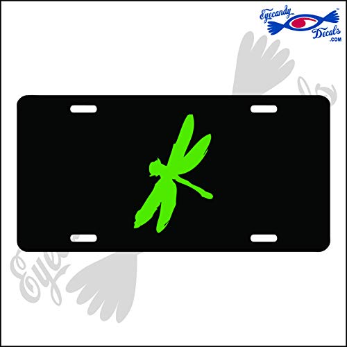 (Eyecandy Decals Dragonfly Lime Green on a Black Acrylic Mirror License Plate)