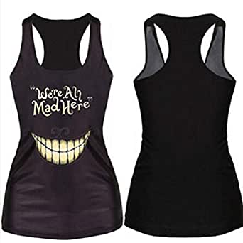 Tank Top Women Clothing Summer New Women Tanks 3D Vest Tops We Are All Mad Here Tank