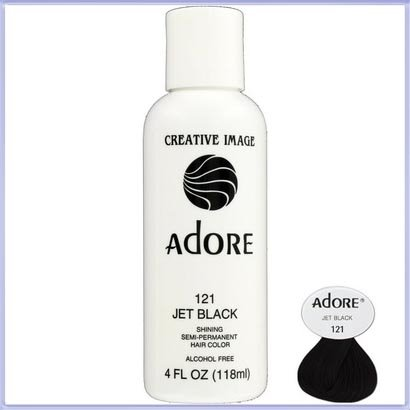 RINSE OUT SEMI-PERMANENT HAIR COLOUR JET BLACK(121) 118ML by Adore