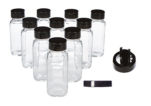 Clear Wide Mouth French Square Glass Bottles for Beverage, Spices, and Decorations with Black Lids and Spice Shaker Pour Lids, 8 oz, Pack of 10 (Glass Container With Pour Spout compare prices)