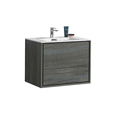 """De Lusso 30"""" Ocean Gray Wall Mount Modern Bathroom Vanity -  - bathroom-vanities, bathroom-fixtures-hardware, bathroom - 41oE1z9bdTL. SS400  -"""
