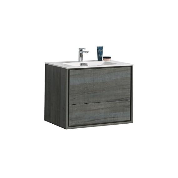 """De Lusso 30"""" Ocean Gray Wall Mount Modern Bathroom Vanity -  - bathroom-vanities, bathroom-fixtures-hardware, bathroom - 41oE1z9bdTL. SS570  -"""