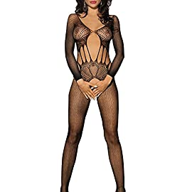 Goldwish Womens Sexy Lingerie Open Crotch Fishnet Mesh Bodysuit Bodystocking