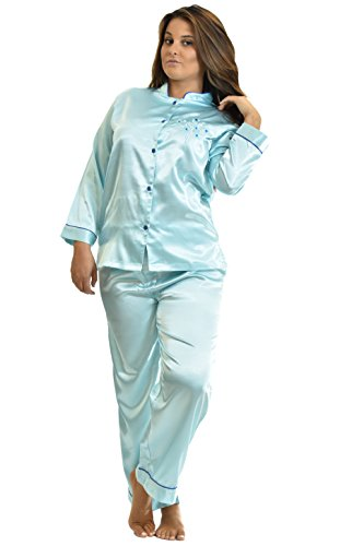 Silk Charmeuse Pants (Satin Charmeuse PJ Sets, Mandarin Collar, Special Introductory Price, 5 Color Choices, Sizes (S,M,L,XL) (Large, Aqua))