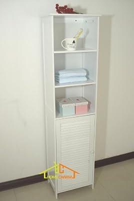 Homecharm-Intl HC-044 Tower Bathroom Cabinet Louvered,White