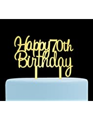 Happy 70th Birthday Gold Acrylic Cake Topper Birthday Party Decoration Supplies