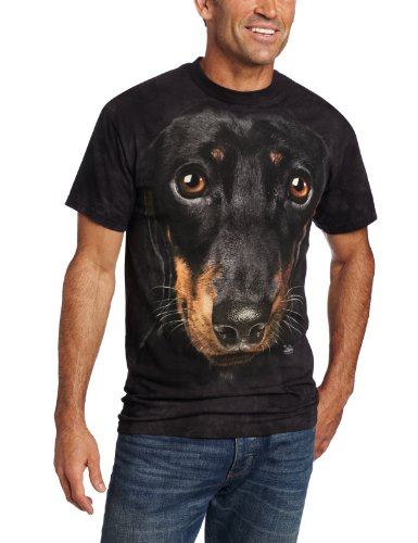Dachshund T-shirt Fitted - The Mountain Dachshund Face Adult T-Shirt, Black, Large