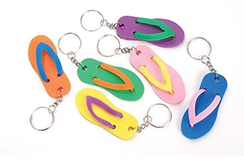 happy deals Luau flip Flop Sandal Keychains - Bulk Pack of 24 Luau Party Favors