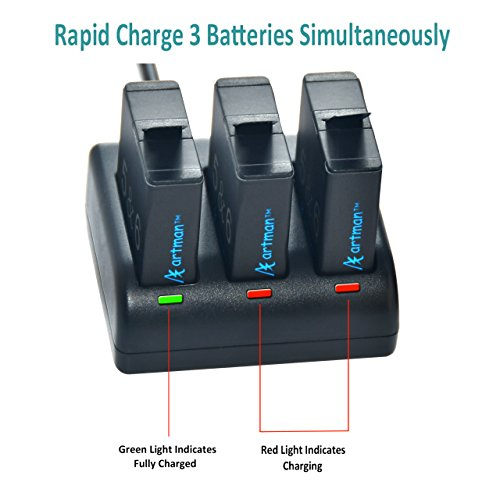 Artman Batteries (3 Pack) and 3-Channel LED USB Charger for GoPro Hero 5, Hero 5 Black AHDBT-501, Hero (2018), Hero 6 Black ,Hero 7 Black(Fully Compatible with Original)