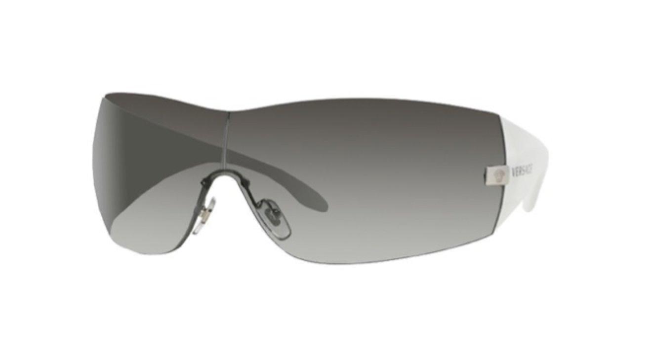 Versace Mens Sunglasses 2054 10008G White Frame Shield Grey Lens 1000//8G