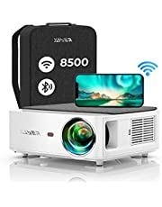 Projector WiFi Bluetooth Full HD 1080P, 8500 Lumens YABER V6 Projector 1080P Native Support 4K, ±50°4P Keystone Correction, Projector Portable Wireless Zoom, Video Projector for iOS/Android/PS4/PPT