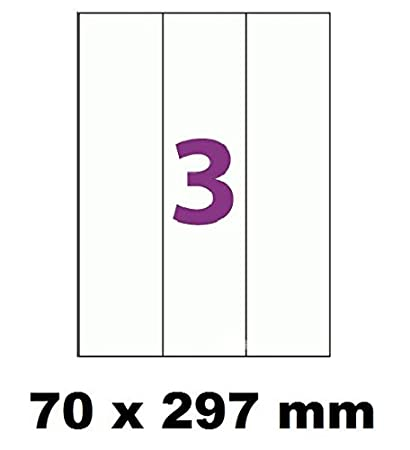 50 A4 hoja de etiquetas 3 de adhesivo 70 x 297 mm papel de ...