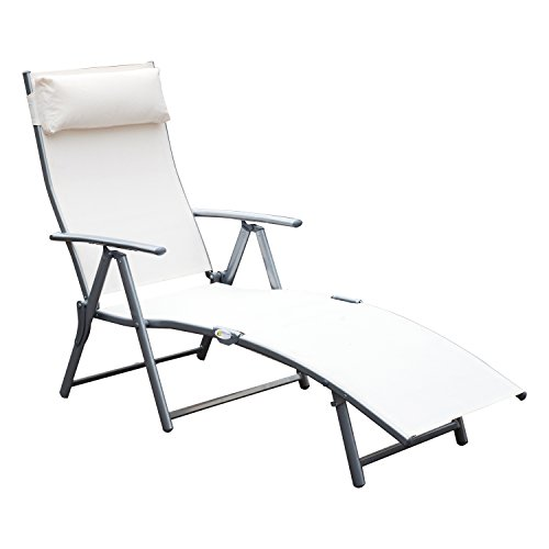 Outsunny Sling Fabric Folding Patio Reclining Outdoor Deck Chaise Lounge Chair with Cushion - Cream White (Chair Outdoor White Lounge)