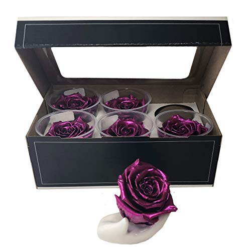 KIKA DECO Preserved Roses Head Pack (Large 6 Pack, Silver Pink Metalized)