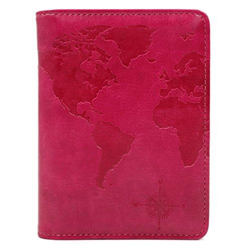 Kandouren RFID Blocking Passport Holder Cover Case,travel luggage passport wallet made with Pink Map Crazy Horse PU Leather for Men & Women