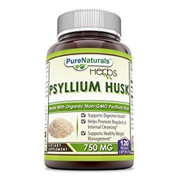 Pure Naturals Psyllium Husk - 750 mg Platango Ovata Fiber Capsules Veggie Capsules (120 Count) Natural Psyllium Husk Fiber