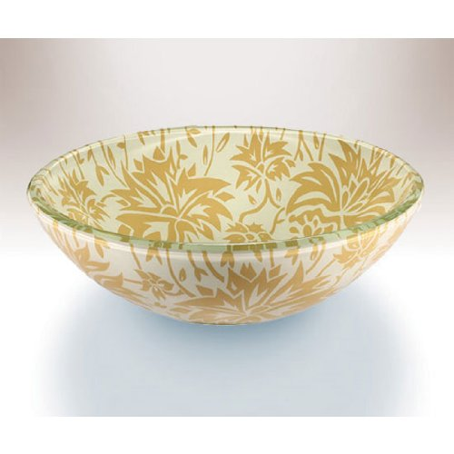Wells Sinkware Art Glass Vessels - Damask Remix, Autumn Above Counter/ Partial Recess Bathroom Sink, 16-1/2 inch Dia. x 5-3/4 inch H by Wells Sinkware