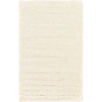 Unique Loom Solid Shag Collection Snow White 5 x 8 Area Rug (5' x 8')