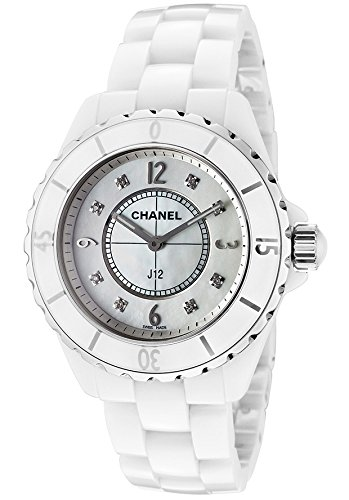 Chanel Women's J12 White Diamond Automatic White Dial White Ceramic