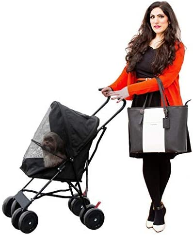 Paw Essentials Light Four Wheel Pet Carrier Stroller Cart for Cats and Dogs – Black, up to 22lbs