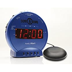 Sonic Bomb Loud Dual Alarm Clock with Vibrating Bed Shaker Blue - SBB500SSB