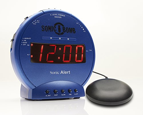 Sonic Bomb Loud Dual Alarm Clock with Vibrating Bed Shaker Blue - (Ez Bed Review)