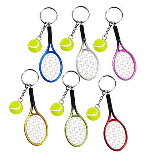 Pakala66 Tennis Racket Keychain Sport Style Tennis Ball Keyring Great Tennis Gift for Sport Lovers, 6 Color Set