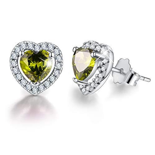 - Esberry 18K Gold Plating 925 Sterling Silver Birthstone Love Heart Stud Earrings Cubic Zirconia Hypoallergenic Earrings Birthday gift for Women and Girls (August-Perldot)