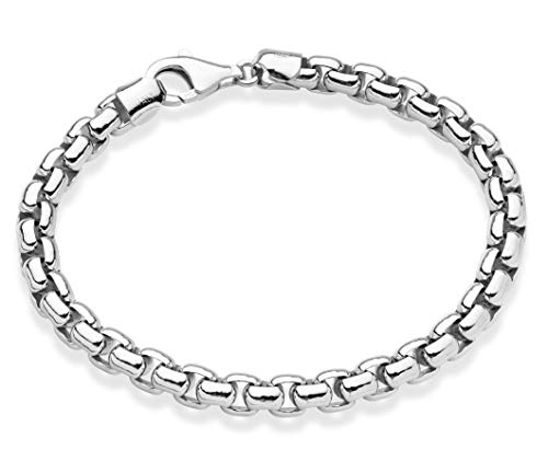 MiaBella Solid 925 Sterling Silver Italian 6.5mm Round Box Link Chain Bracelet for Men, 7.5, 8, 8.5, 9 Inch Made in Italy (8.5, Sterling-Silver)