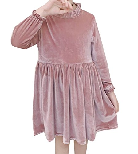 RDHOPE Kids Ruffle Detail Long Sleeve Pleuche Party Wedding Dresses Pink 110