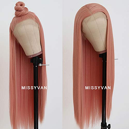 Missyvan Long Straight Hair Pink Color Lace Wigs Glueless Heat Resistant Fiber Hair Synthetic Lace Front Wigs for Fashion Women ()