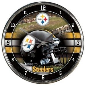 Pittsburgh Steelers Round Chrome Wall Clock at Steeler Mania