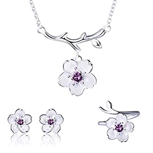 ISAACSONG.DESIGN Sterling Silver Daisy, Cherry Flower Necklace Earrings Bracelets Ring Set for Women and Girls