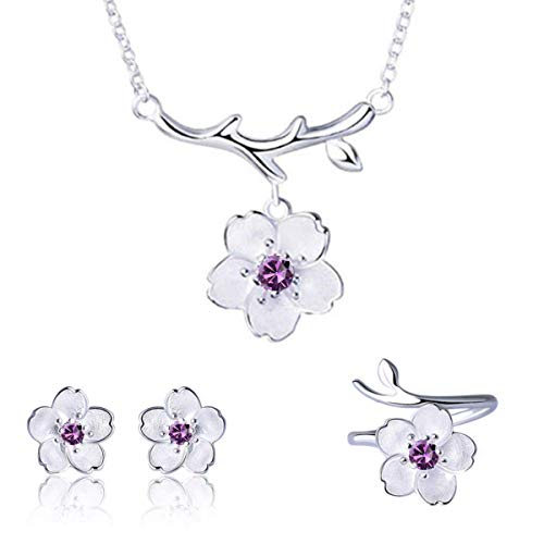 (ISAACSONG.DESIGN 925 Sterling Silver Daisy/Sakura/Snowflake Flower Crystal Pendant Necklace Earring Bracelets Ring Set for Women (Purple Crystal Sakura Flower))