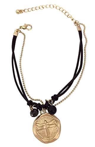 - Black Leather Cord Matte Gold Tone Dragonfly Wax Stamp Charm Bracelet