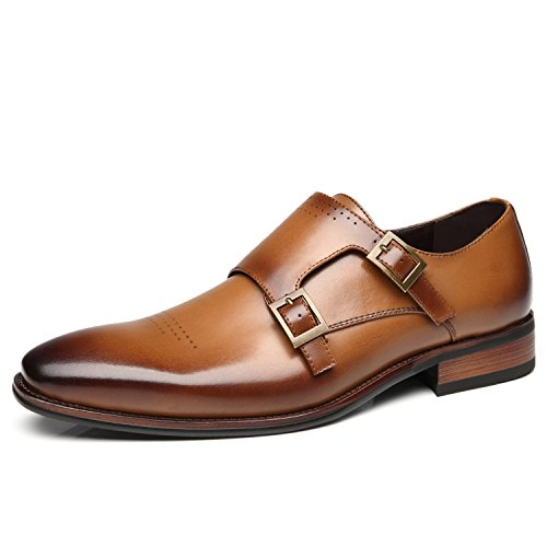 Faranzi Mens Double Monk Strap Oxford Buckle Slip-on Loafer Comfortable Classic Formal Business Dress Shoe by Faranzi