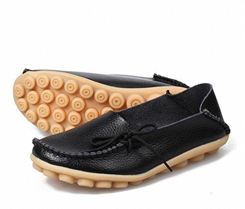 Zapatos De Las Mujeres Del Holgazán Zapatos Que Caminan Casuales Zapatos De Conducción Planos Resbalón En Los Zapatos Del Barco Del Mocasín Negro