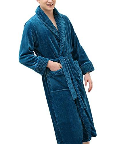 Unisex Caldo Accappatoio Scollo a V Notte Vestaglia Camicia con Cintura Sauna Veste Blu Uomo