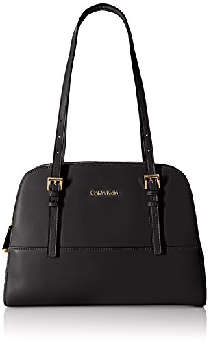 Calvin Klein Glazed Satchel Bag, Black/Gold, One Size