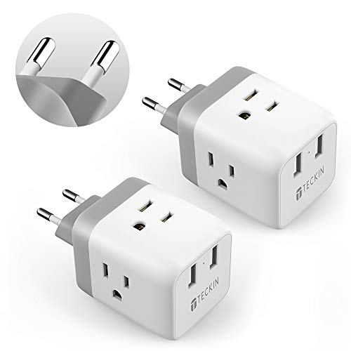 European Travel Plug Adapter,TECKIN Power Adapter with 3 American Outlets & 2 USB Ports,5 in 1 US to EU Power Outlet Adapter,Type C Plug for German,Italy,France,Spain,White(2 Pack )
