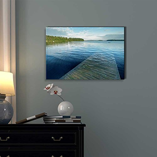 Beautiful Scenery Old Wooden Pier Goes Under Deep Water on The Lake Home Deoration Wall Decor