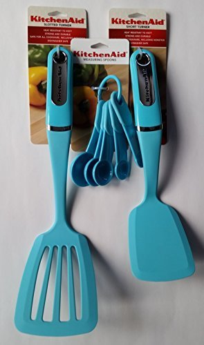 KitchenAid Turquoise Measuring Spoons, Short Turner, Slotted Turner (3 piece set)