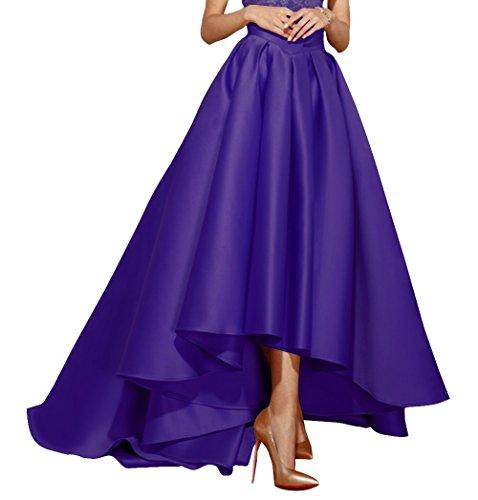 Pleat Skirt Dress (Fluorodine High Low Satin Skirt For Women High Waist Pleat A Line Dress US0 Purple)