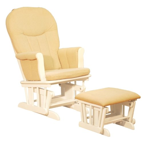 White Deluxe Gilder Chair with Beige Pad.